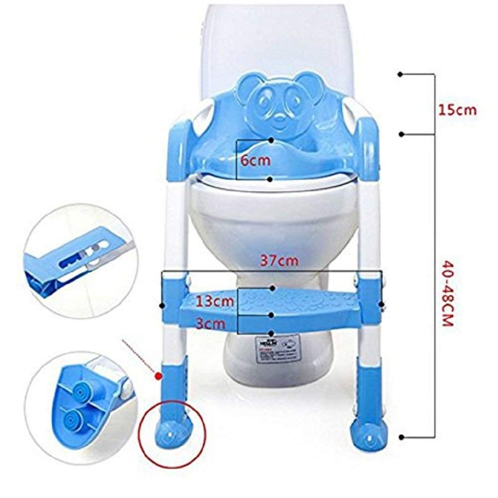 Potty Toilet Seat for Child, Potty Toilet Seat with Step Stool Ladder Cover Toilet Folding Chair,Potty Training Seat Chair with Adjustable Step Stool Ladder Cover Toilet Folding Chair (Blue)