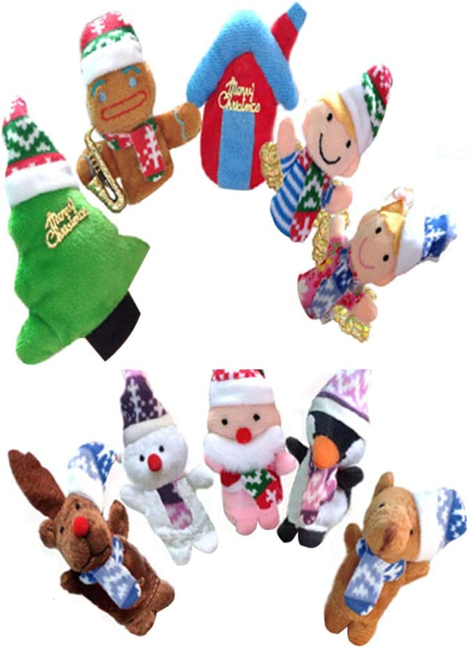 NUOBESTY 10pcs no/ël Doigt marionnettes Main Doigt poup/ées Jouets Santa Claus Cerfs Bonhomme de Neige Maison de larbre Vacances Cadeau de no/ël Jouet pour Enfants Enfants Tout-Petits