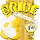 Bachelorette Party Decorations Supplies & Bridal Shower Decorations Kit - Includes: BRIDE Foil Balloon, Ring Foil Balloon, Bride To Be Sash, Gold Foil Curtain, 12 Latex Balloons