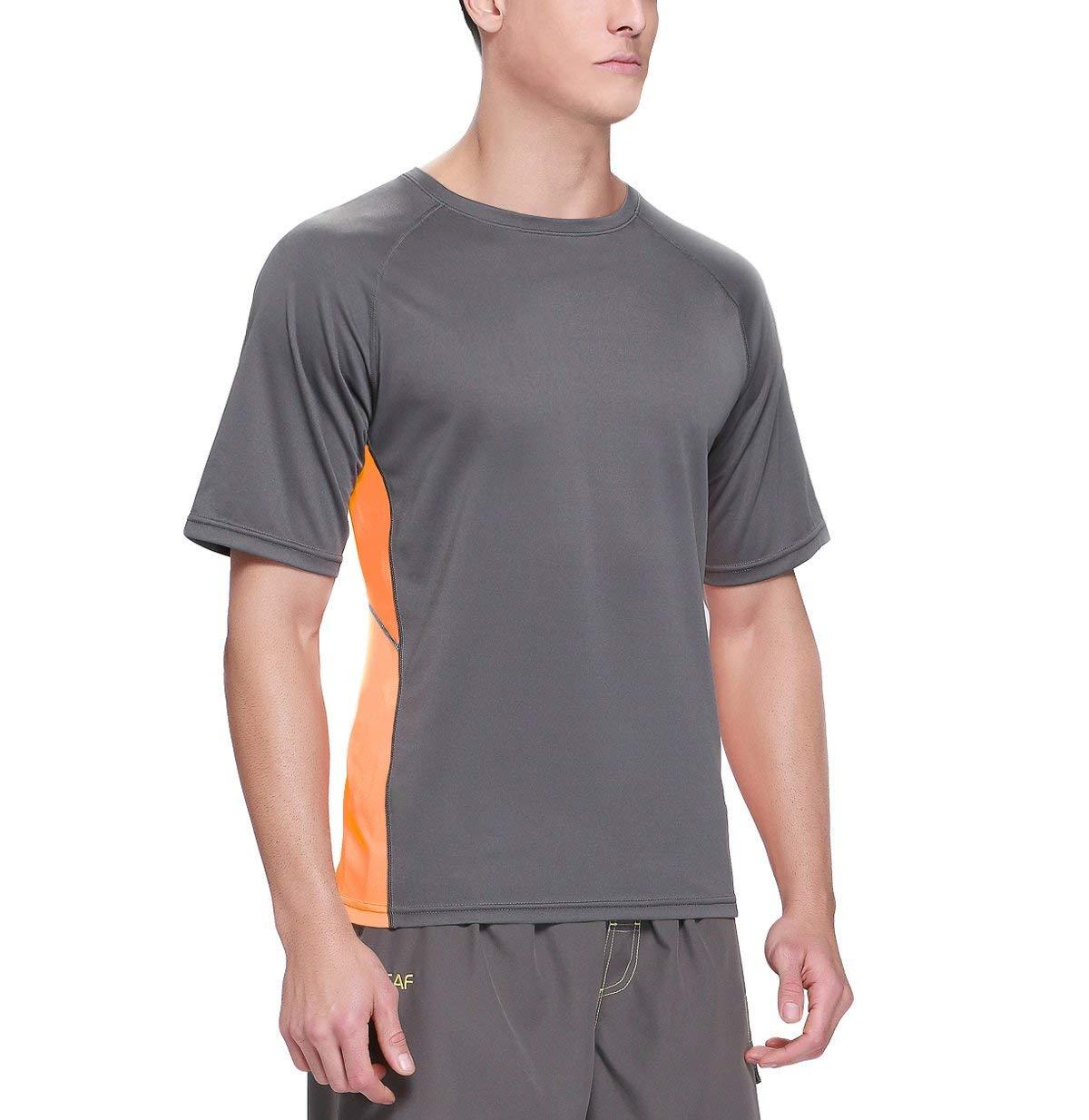 Baleaf Men's Short Sleeve Sun Protection Rashguard Swim Shirt UPF 50+ Dark Grey M by Baleaf (Image #4)