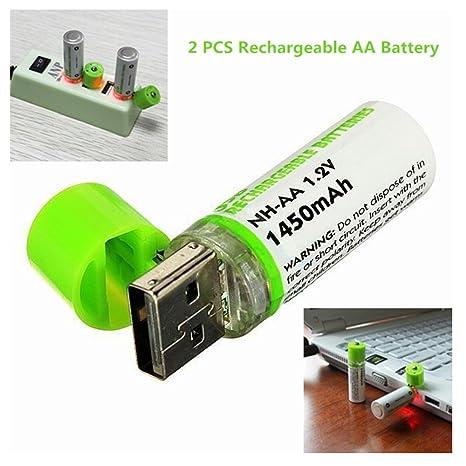 Amazon.com: NH Batería AA & integrado Cargador USB 1450 mAh ...