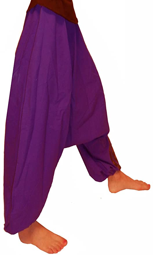 PURPLE 100% COTTON ALI BABA HAREM PANTS WIDE TROUSERS S M L 10 12 14 16 18  YOGA: Amazon.co.uk: Clothing