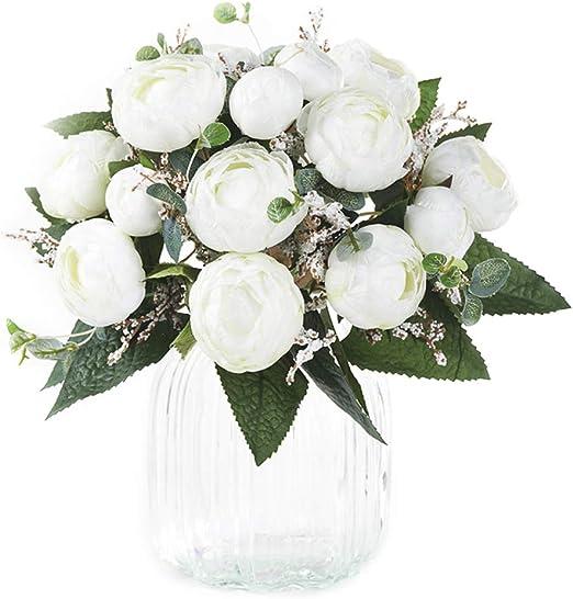 Simulation Flower 5 Head Camellia Wedding Party Home Decoration Silk Bouquet
