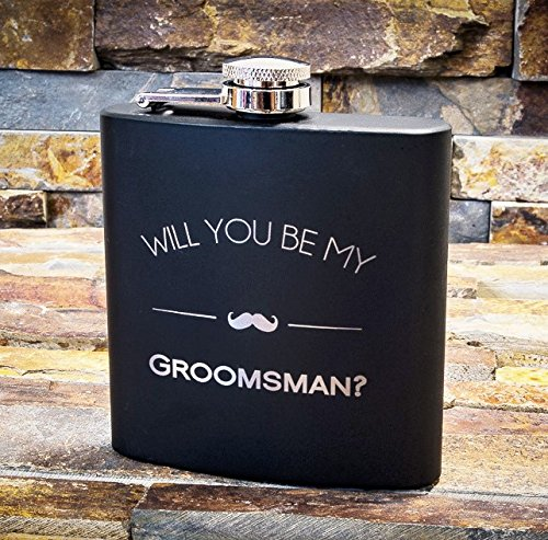 Will You Be My Groomsman Engraved Gift Flask - Asking Groomsmen Gifts- For Men, Black Whiskey Flasks For Proposal – Extra Thick 5mil #304 Stainless Steel, Laser Engraved, Leak Proof Groomsman 602