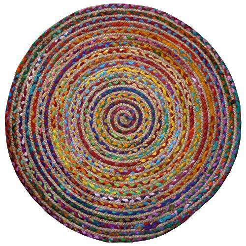 Alfombra redonda multicolor, algodón y yute cosido, con materiales reciclados, tela, multicolor, 120cm Diameter
