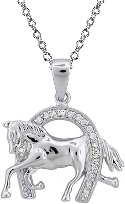 Bling Jewelry Pave Zirconio Cúbico Ecuestre Vaca Buena Suerte Herradura Colgante Collar para Caballos De Plata Esterlina 925 Mujer