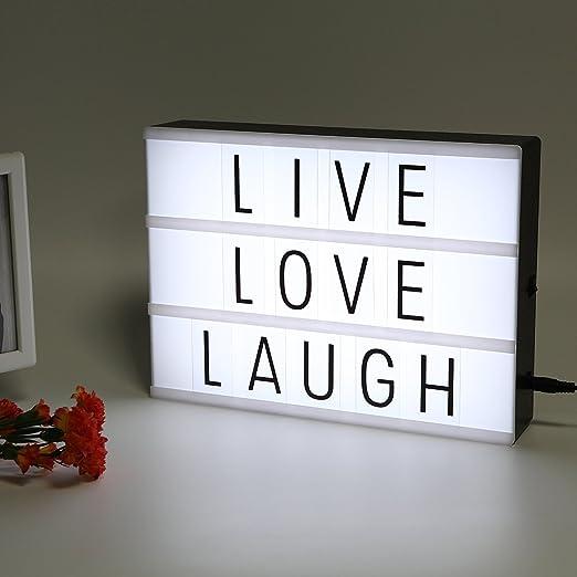 ZMVA A4 LED Caja de luz de cine ~ Ilumina tu vida ~ Caja de luz cinematográfica ~ Lightbox con letras flexibles (A4/30*22*5CM): Amazon.es: Iluminación