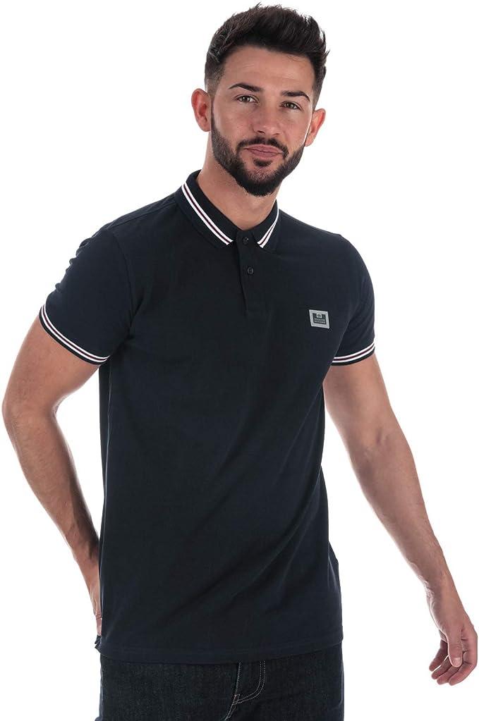Mens Weekend Offender Carandiru Stripe Collar Polo Shirt In White Short Sleeve