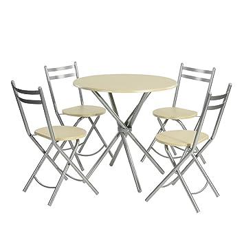 5 pcs Kitchen Mesa de Comedor, Redonda Mesa de café Muebles ...