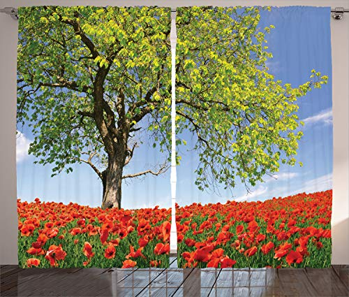 Ambesonne Poppy Decor Curtains, Landscape of Blooming Poppies on The Field Majestic Tree Rural Terrain Habitat Photo, Living Room Bedroom Decor, 2 Panel Set, 108 W X 90 L Inches, Green Red Blue ()
