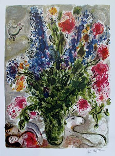 Artwork by Marc Chagall Les Lupins Bleu Limited Edition Facsimile Signed Lithograph Print. After the Original Painting or Drawing. Measures 31 Inches X 22½