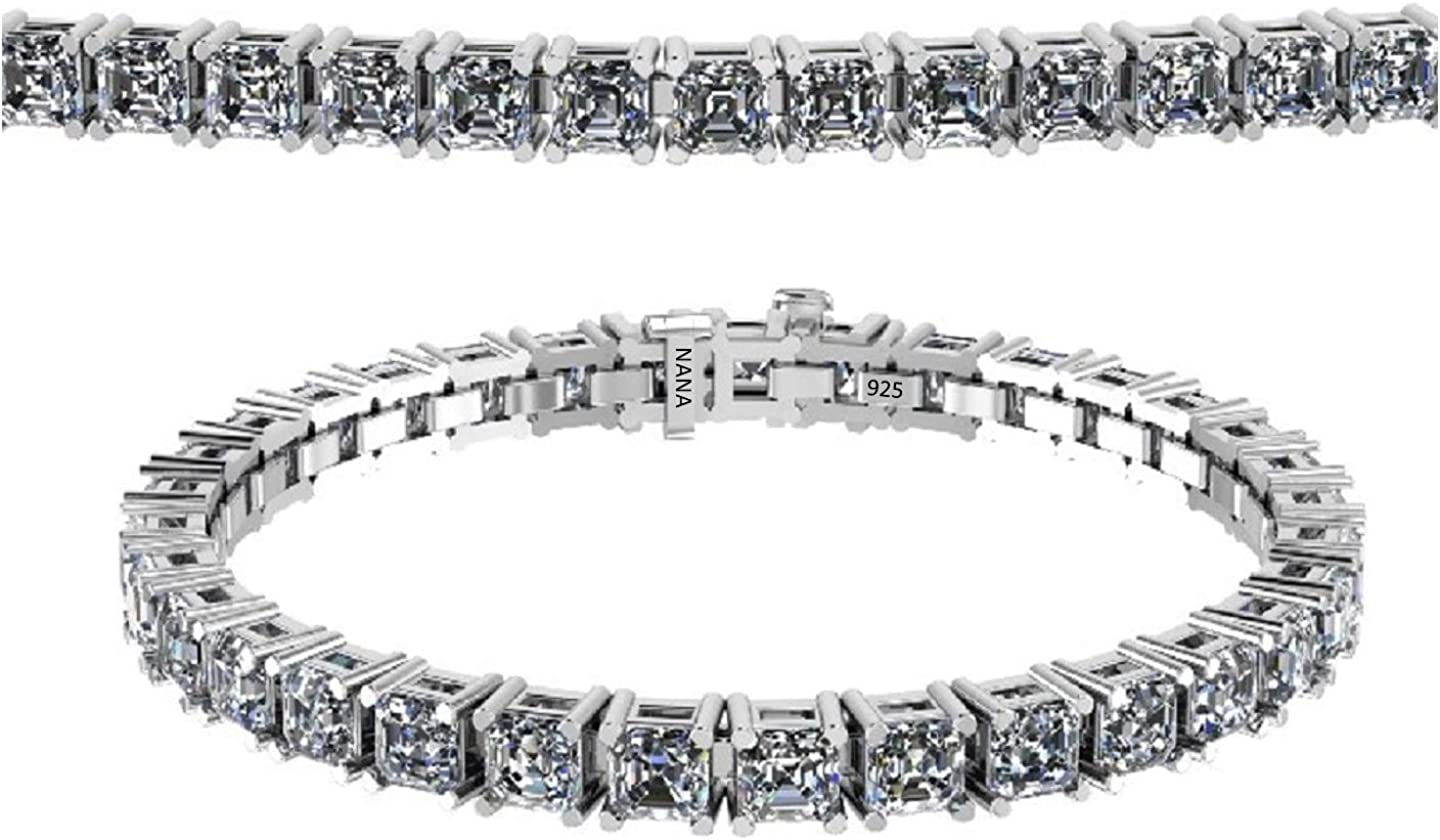 "NANA 13.00ctw-53.00ctw Swarovski Zirconia 7"" or 8"" Asscher Cut Bracelet Sterling Silver White, Yellow or Rose Plated"
