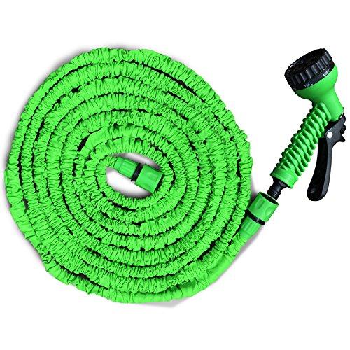Flexibler Gartenschlauch | geringes Gewicht & platzsparende Aufbewahrung | inkl. Brause mit 7 Funktionen | drei Längen wählbar (30m)