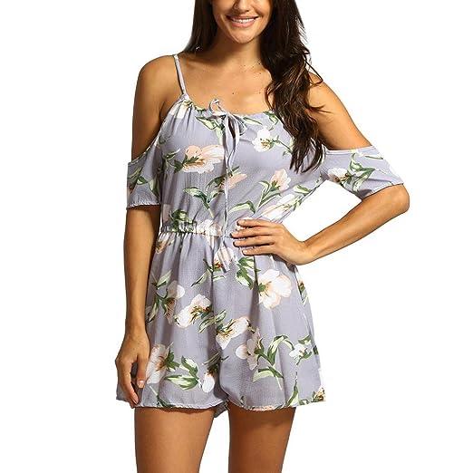 d4e0e7e78040 Longay Women Ladies Sexy Floral Print Cold Shoulder Jumpsuit Rompers (S)
