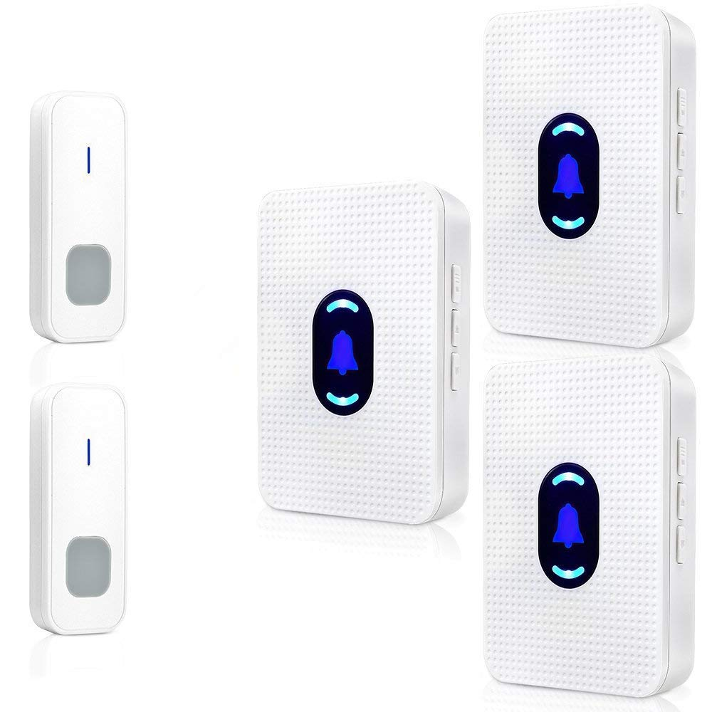 Wireless Doorbell, BOSCHENG Waterproof Chime kit 1 Push Button Transmitter and 2 plug-in Receivers Operating at 1000 feet Range, Wall Plug-in Cordless Door Chime (2TO3)