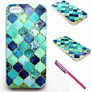 IPhone 5 Case, IPhone 5S Case - LUOLNH Fashion Style Colorful Painted Plaid and Birds TPU Case Back Cover Protector Skin For IPhone 5S