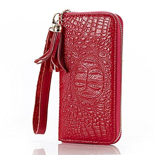 OME&QIUMEI Hand Bag Zipper Wallet Geldbeutel Handtasche Rose red 6dYAWJp