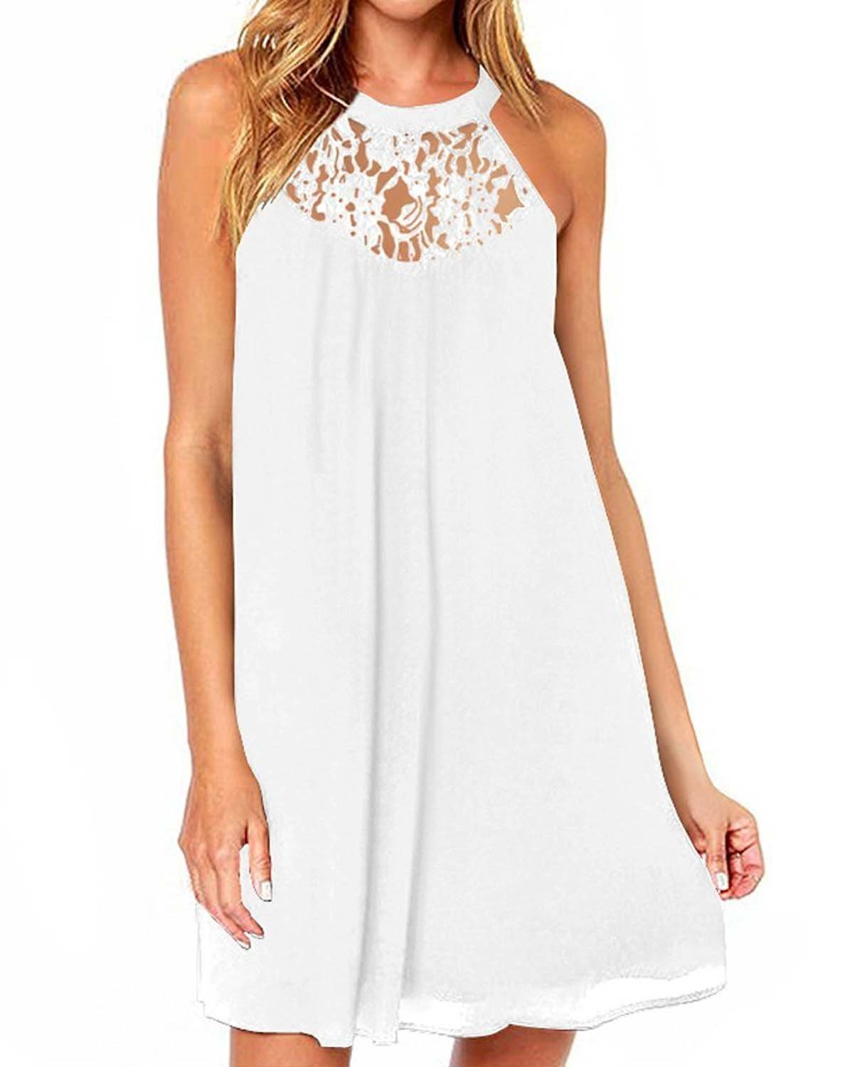 24bf745033d51 CCBETTER Women s Summer Casual Sleeveless Halter Neck Lace Patchwork  Chiffion Drees White