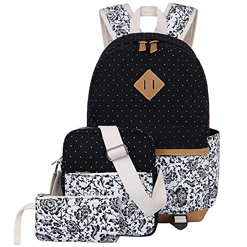 BLUBOON Teens Backpack Set Canvas Girls School Bags Bookbags 3 in 1