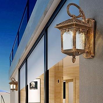 XIN Lámpara de pared antigua a prueba de agua, luz de altavoz de balcón exterior retro Villa Jardín Luz de lluvia Bombilla de aluminio E27 [Clase energética A]: Amazon.es: Bricolaje y herramientas