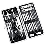 Professional Manicure Pedicure Set Nail Clippers Kit - 18 Piece Stainless Steel Manicure Kit, Professional Grooming Kit, Nail Tools with Luxurious Travel Case