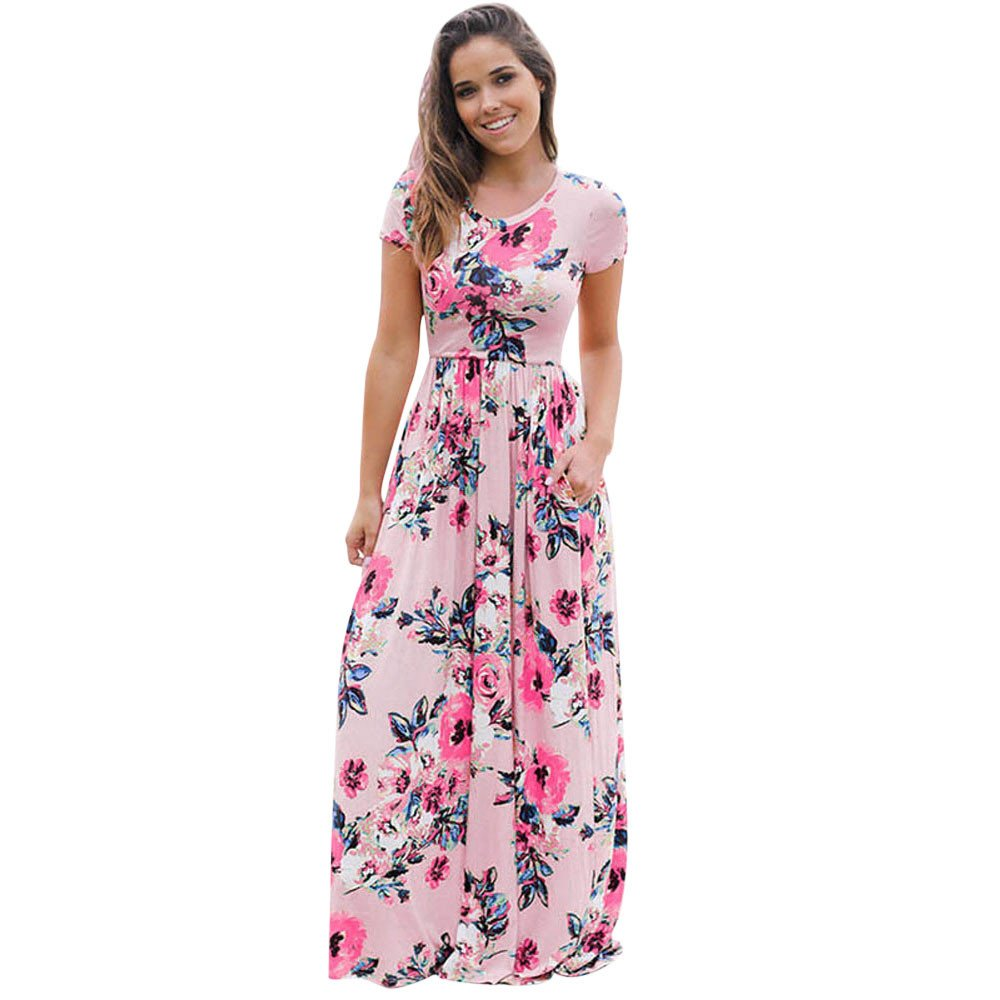 Fanyunhan Women Summer Short Sleeve O-Neck Long Dress Floral Printed Straight Maxi Dress Pink