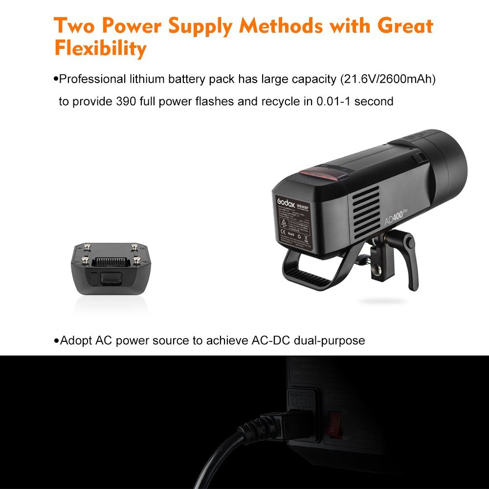 Godox AD400Pro All-in-one Outdoor Flash Strobe Battery-Powered Monolight with TTL HSS 2.4GHz X Wireless Remote System (Support Various Accessories by Different Adapter Ring) by Godox (Image #6)