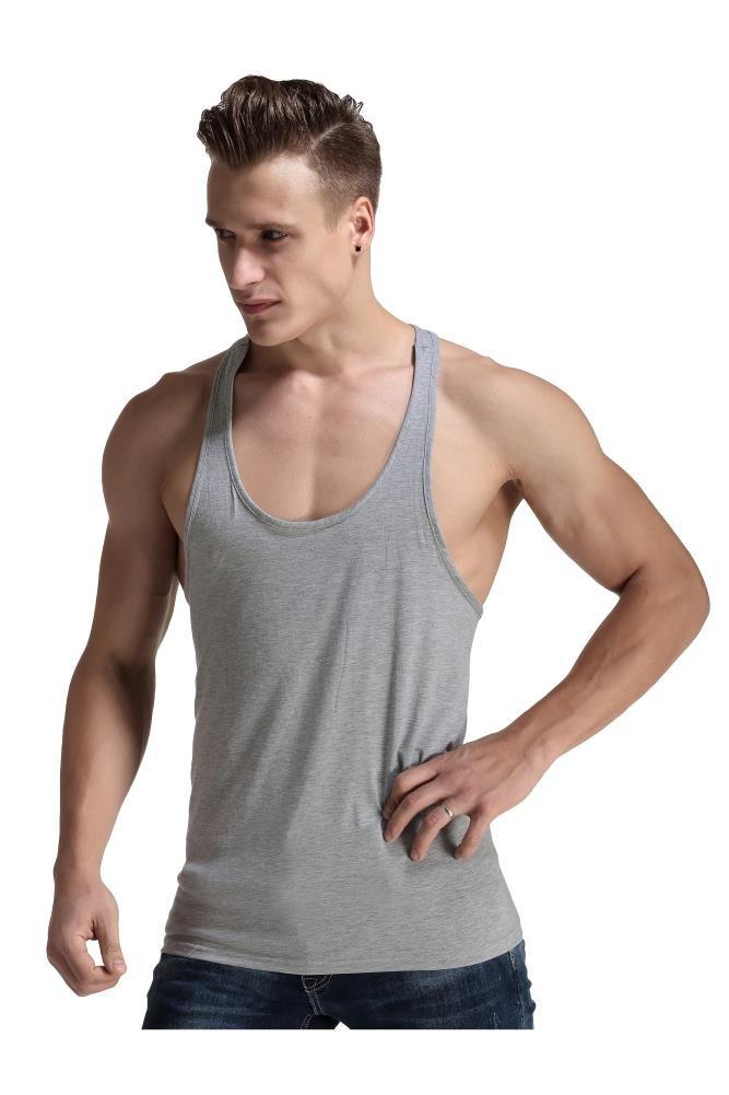 Men Fashion Blank Stringer Y Back Cotton Gym Sleeveless Shirts Tank t, (Gray, S)