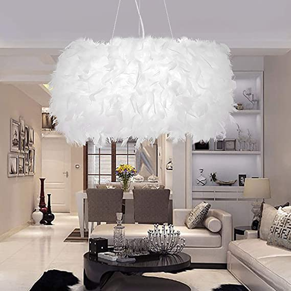 LIUNIAN 30CM Lámpara de techo Lámpara de araña Pantalla Minimalista Moda Moderna Luz de techo de plumas para la sala de estar Dormitorio Porche Bar ...