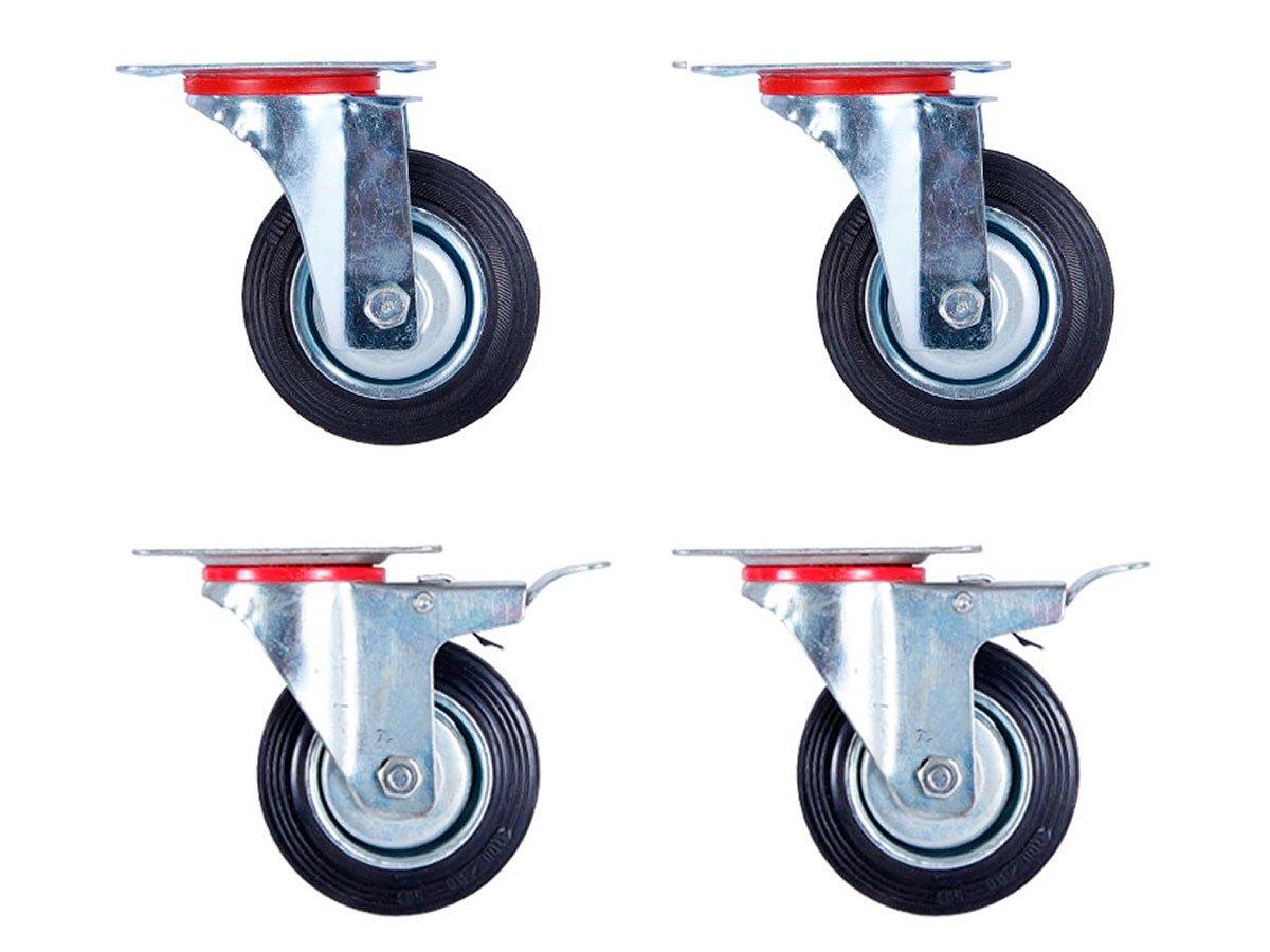 Lot de 4 Roulettes pivotantes 2 avec et 2 sans frein (Set 100 mm TR-02c03c2) Roulette pivotante Armature en tôle acier galvanisée Roue Roulette pivotante à bandage caoutchouc noir Jantes à roulement à rouleaux Economique s