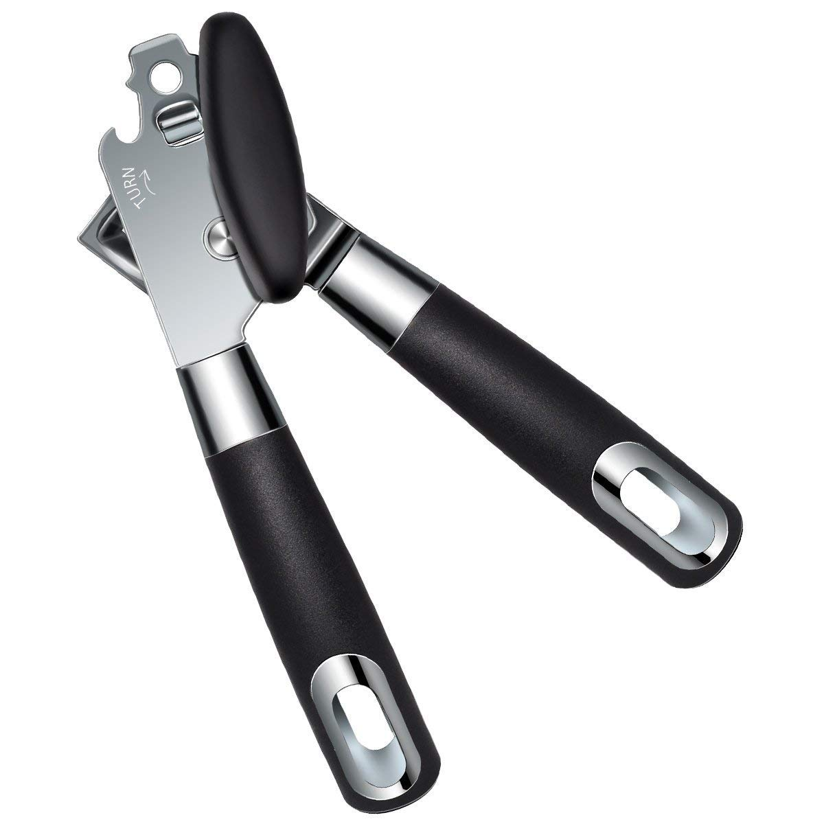 Hand Held Safety Manual Can Opener,3-in-1 Built in Tin&Jar Opener with Sharp Stainless Steel Sooth Cutting Edge Heavy Duty and Ergonomic Handle Easy to Use for Seniors