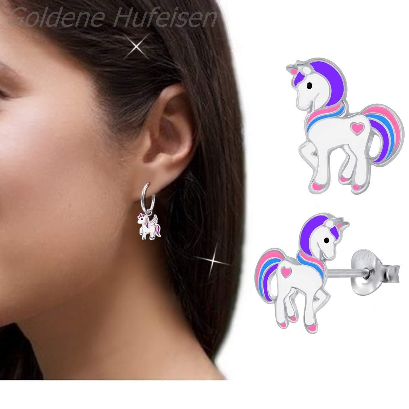 petites licornes avec boucles cr/éoles/+/fleurs avec cristaux cheval ail/é GH*/Kids Lot de 2/paires de boucles d/'oreilles pour petites filles en argent/925/v/éritable