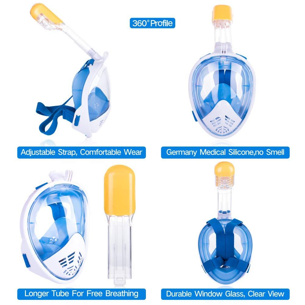 QIANSHUIWAN Plein Sec Diving Mask Faciaux Masque Snorkeling Respiration Facile 180 /º Vue Panoramique sur La Mer Masque Tuba Anti-fuites /& Anti-Brouillard M/áscara De Snorkel