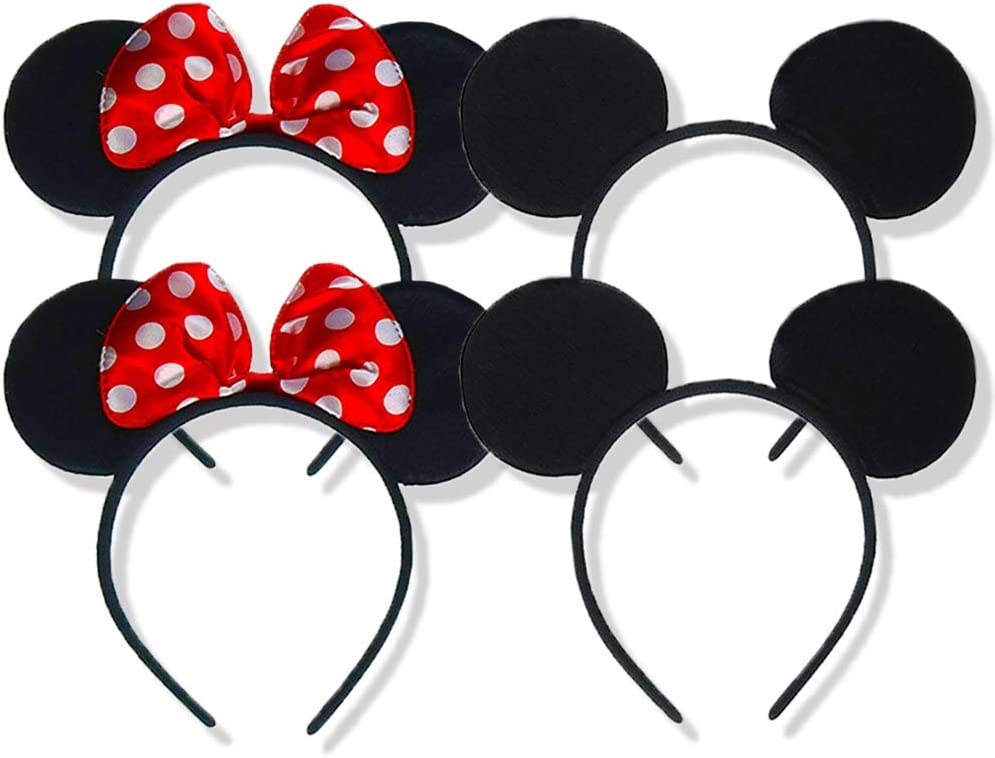 Minnie Mickey Mouse Ears X pcs Headbands Black Red Polka Dot Bow Book Week