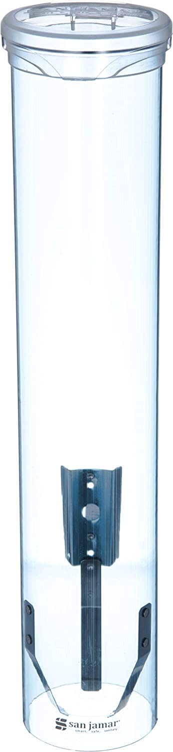 San Jamar C4160TBL Small Pull-Type Water Cup Dispenser, Fits 3 to 4-1/2 oz Cone Cups and 3 to 5 oz Flat Bottom Cups, Transparent Blue