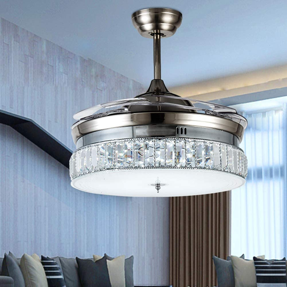 Retractable Crystal Ceiling Fans Light with Remote Control 4-Blade Invisible Ceiling Fan Chandelier Art Decoration 36 inch Silver