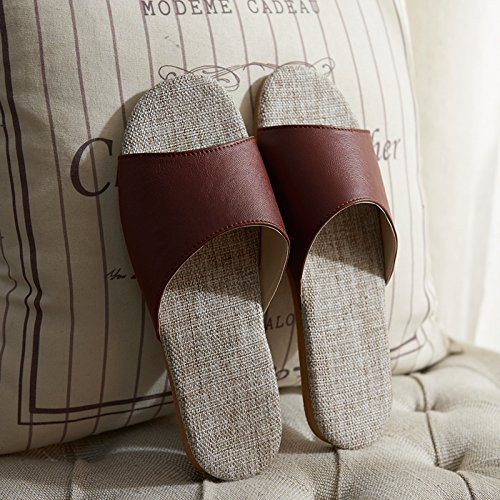 43 red Linen coffee slippers indoor 42 antiskid xrXOIFX