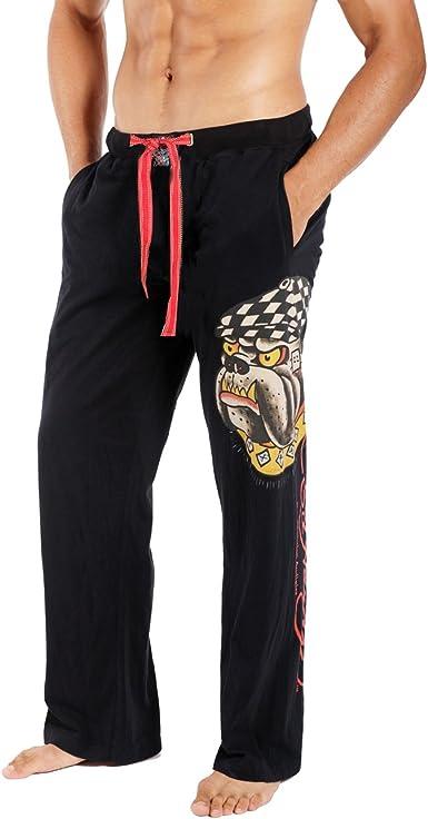 Amazon Com Ed Hardy 9057jp Mens De Michael Jackson Bulldog Lounge Pantalones Negro Clothing