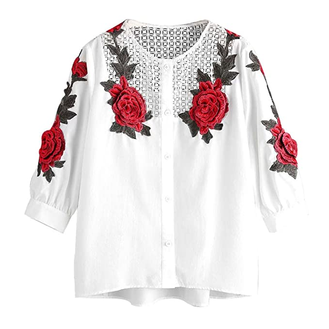 LILICAT Frauen Herbst Langarmshirt Vintage T-Shirt Gestickt Damen Oberteile  Casual Bluse Chic Hemd Tops 1e273d2106
