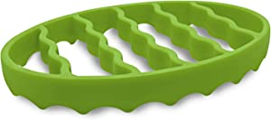 Silicone Roasting Rack, Steamer Rack for Baking Canning Cooking Steaming, Silicone Pressure Cooker Roasting Accessories Compatible with 6-quart and 8-quart cookers (Oval, Green)