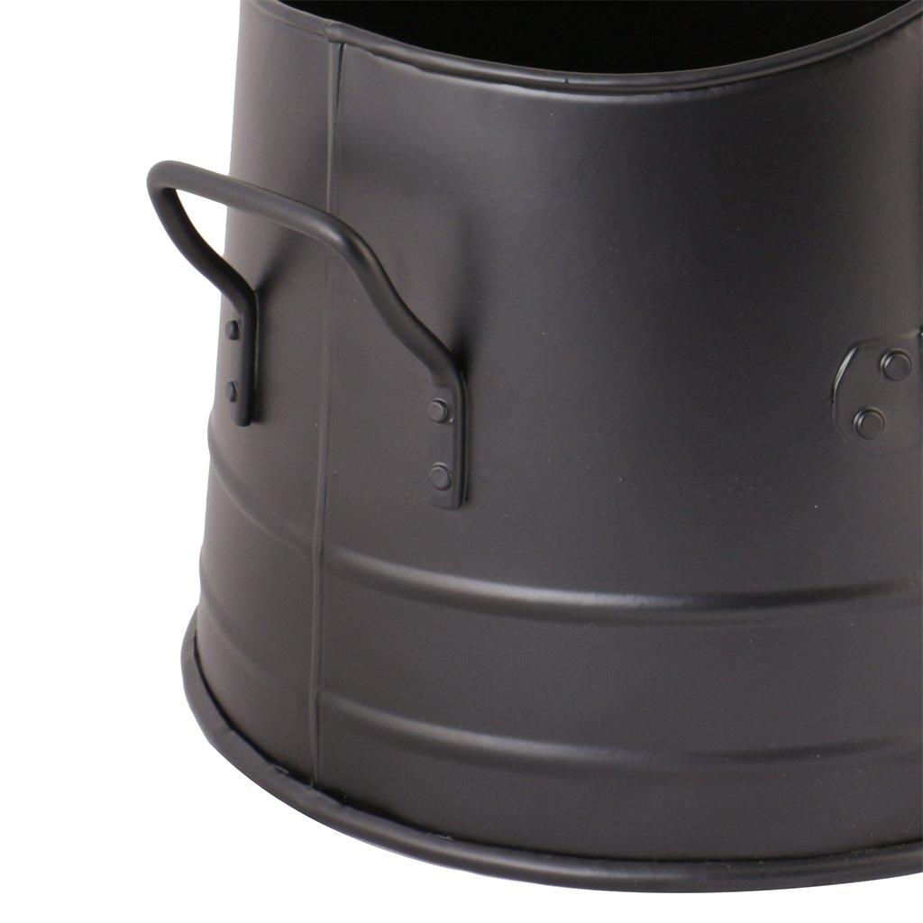 Black Finish Metal Fireside Ash Transporter Bucket with Carry Handle and Shovel N419