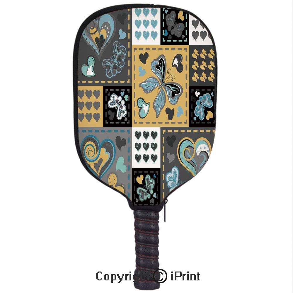 Amazon.com : Premium neoprene material, soft, thick enough Protector Pickleball Paddle Cover, Dark Textured Vintage Ornament Heart and Butterfly Motif in ...