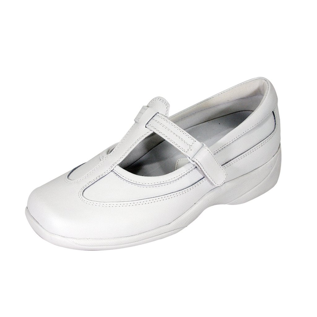 24 Hour Comfort  Pam Women Adjustable Extra Wide Width Hook and Loop Leather Shoes White 9