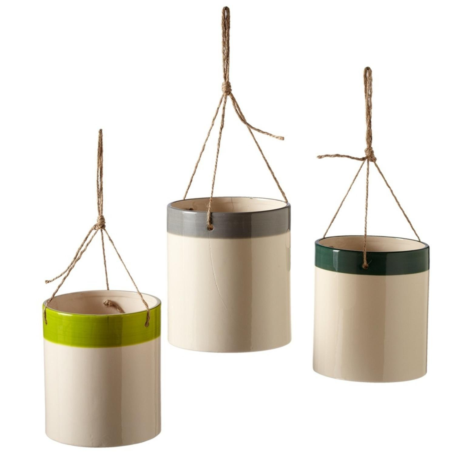Set of 3 Light Green, Gray, and Dark Green Assorted Large Hanging Stripe Pot 5''