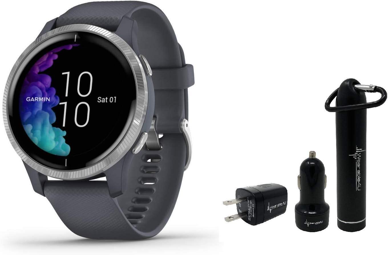 Garmin Venu GPS Smartwatch with AMOLED Display and Wearable4U Power Pack Bundle Granite Blue Silver