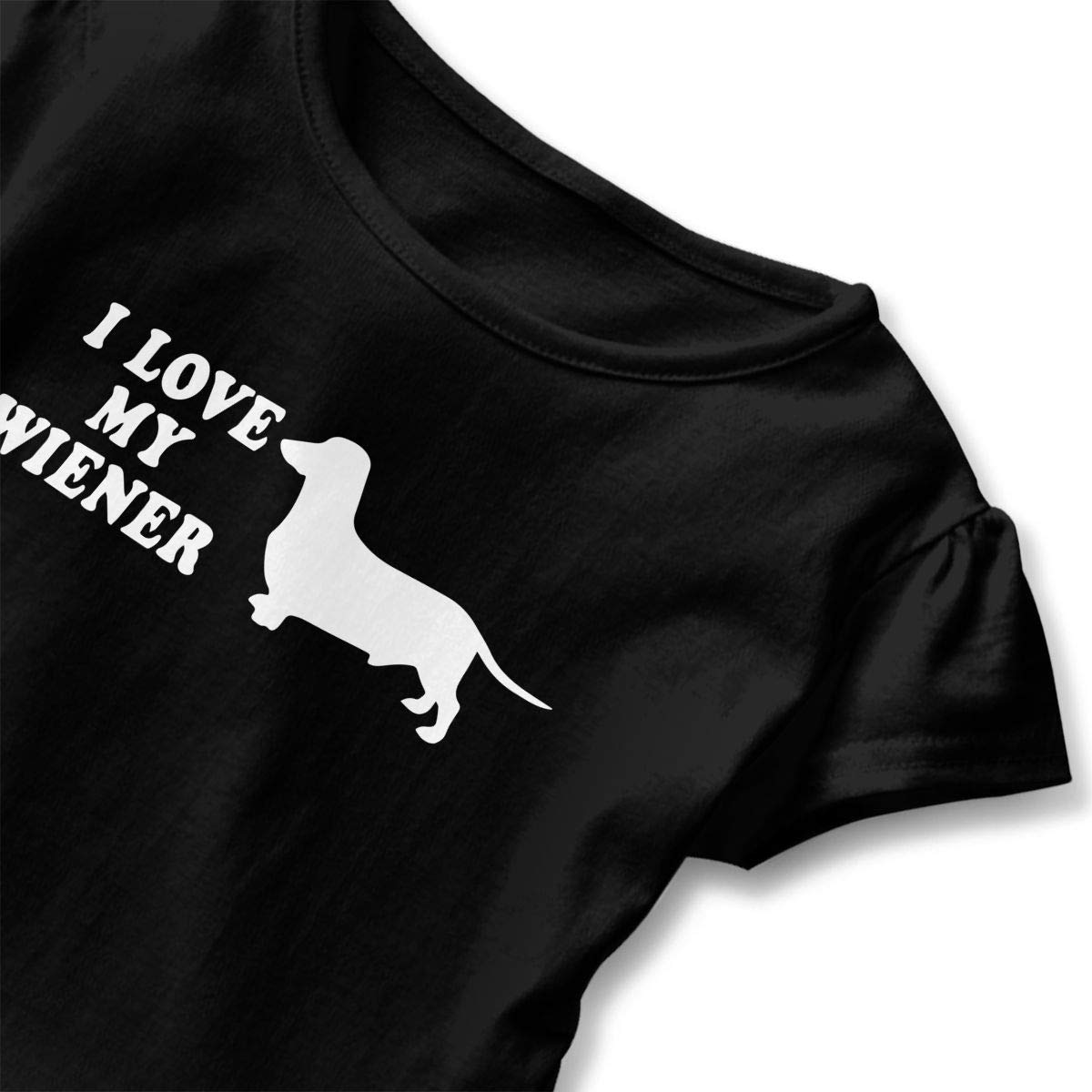 I Love My Wiener with Dachshund Shirts Kids Girls Short Sleeve Ruffles Shirt T-Shirt for 2-6T
