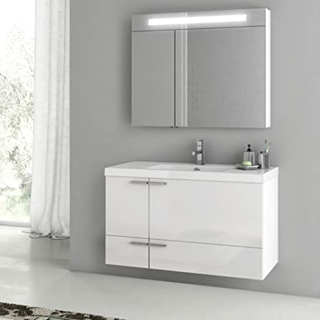 Amazon Com Nameek S Acf 40 New Space 3 Piece Wall Mounted Bathroom Vanity Set In Glossy White Kitchen Dining