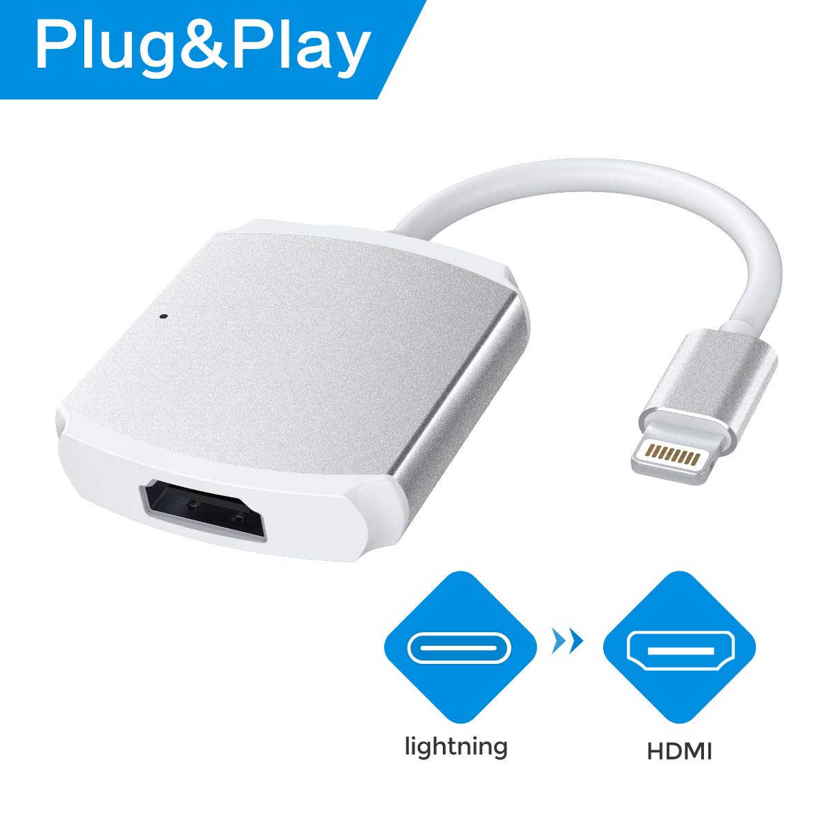 RayCue HDMI Adapter Compatible iPhone/iPad, HDMI Cable Adapter, 1080P Digital AV Adapter HDMI Connector Micro USB Charging Port Replacement iPhone & iPad, Include The Charging Cable