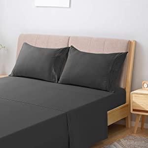 INGALIK King Bed Sheet Set 4 Piece,Extra Soft 1800 Thread Count Silky Smooth,Bedding Sheet Set Deep Pocket,Breathable, Wrinkle,Hotel Luxury Cooling Sheets Set(King,Dark Grey)