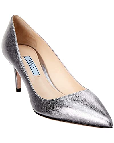 ba3695850d29 Image Unavailable. Image not available for. Color  Prada 65 Pointy-Toe  Metallic Saffiano Leather ...